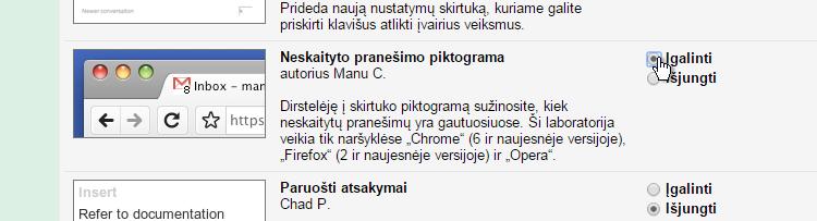 Gmail Labs Neskaityto pranesimo piktograma