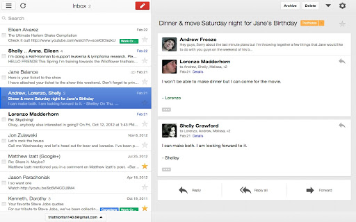 Gmail Offline ekranas