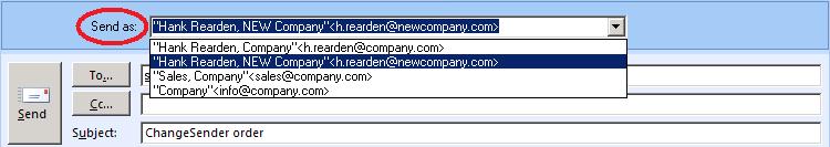 Outlook siųsti kitu adresu