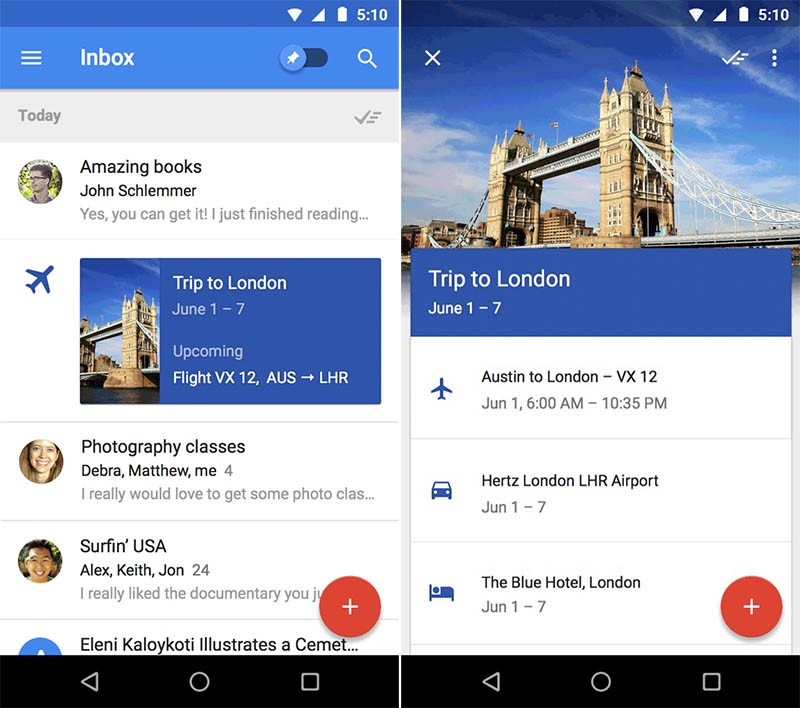 Inbox by Gmail ir Google Now