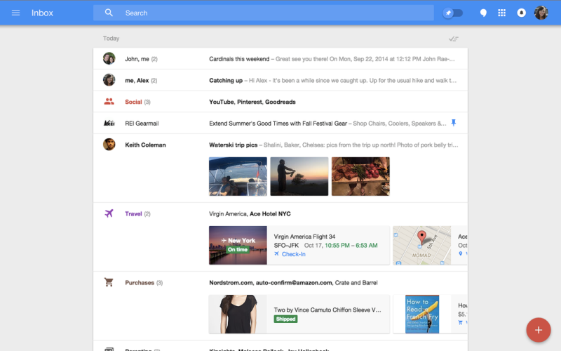 Inbox by Gmail grupavimas