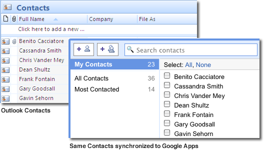 Outlook Google Contacts