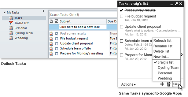 Outlook Google Tasks