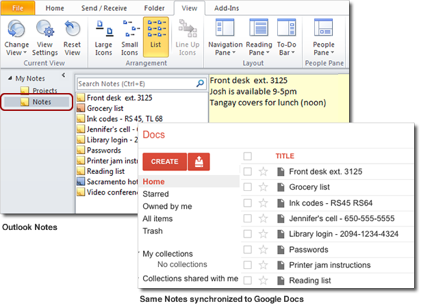 Outlook Notes Google Drive